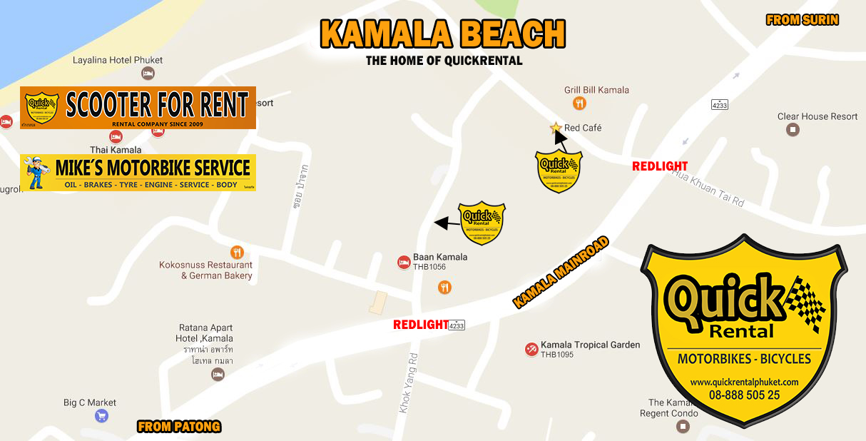Location of our two shops in Kamala. Welcome.